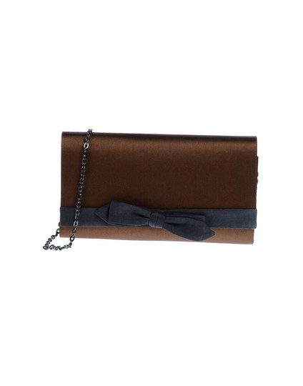 Hoss intropia Silk Chain Strap Bow Brown and Blue Clutch Image 2