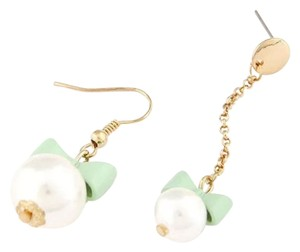 Other New Pearl Earrings W/ Green Bows Long One & Short One J2257