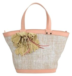 Desmo Calf Leather Melange Effect Feather Detail Tote in Beige and Pink