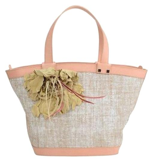 Preload https://img-static.tradesy.com/item/13430743/desmo-leather-handle-melange-effect-feather-detail-beige-and-pink-calf-skin-textile-fibres-tote-0-1-540-540.jpg
