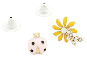 Other New Lady Bug Daisy Stud Earrings Gold Tone Flower J2259