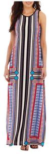 Red White Black & Blue Maxi Dress by Bisou Bisou