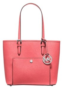 Michael Kors Jet Set Item Snap Pocket Tote in Coral Pink/Silver tone