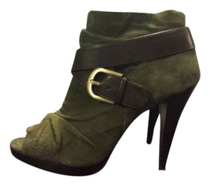 INC International Concepts Peep Toe Suede Ruched Bootie Army Green and Brown Boots