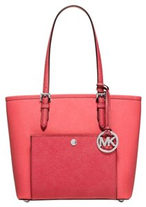 Michael Kors Jet Set Item Tote in Coral Watermelon Silver