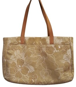 American Eagle Outfitters Leather Straps Beads Sequins Tote in Tan and white