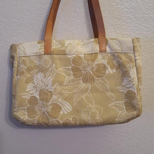 American Eagle Outfitters Leather Straps Beads Sequins Tote in Tan and white Image 1