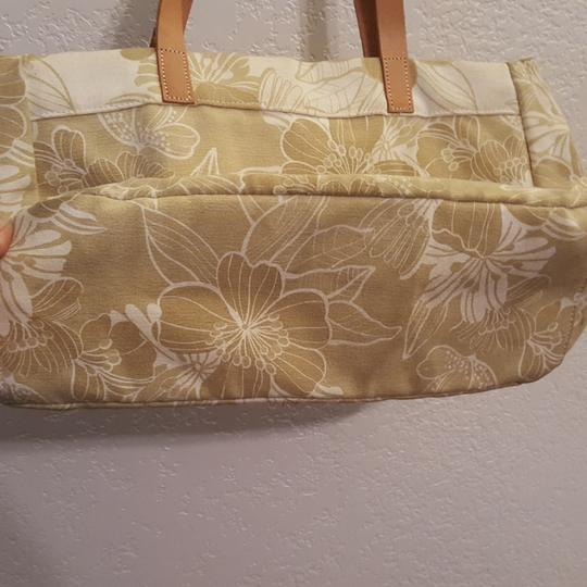 American Eagle Outfitters Leather Straps Beads Sequins Tote in Tan and white Image 2
