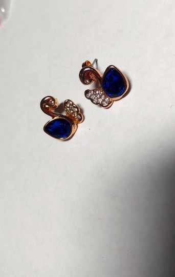 Other New 14K Gold Filled Blue Cubic Zirconia Swan Stud Earrings J2261 Image 1
