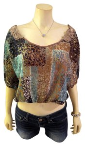 Wet Seal P1984 Wet Lace Size Small Top blue, gray, white, teal