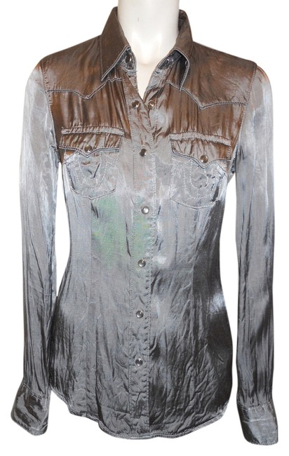 Item - Pewter/Silver Western Snap Front Blouse Size 2 (XS)