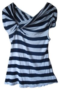 Anthropologie Deletta Striped Navy White T Shirt