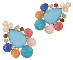 New Blue Pink Orange Gold BIb Earrings 2 in. long J2265