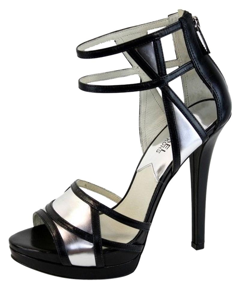 04e047584cf Michael Kors Black Jaida Zip Cut Out Platform High Heel Black Silver Dress  Pumps