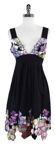 Catherine Malandrino short dress Black Floral Print Cotton on Tradesy
