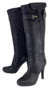 Fendi Black Textured Leather Tall Boots