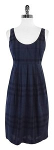 Burberry short dress Navy Plaid Cotton Scoop Neck on Tradesy