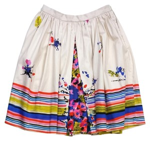 RED Valentino Multi Color Print Cotton Flared Skirt