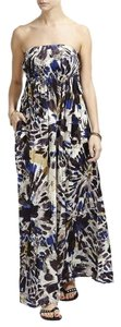 Brown, Blue, Cream Maxi Dress by Desigual Strapless Stylish Maxi Flowery