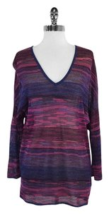 Missoni Fuchsia Blue Metallic Knit Sweatshirt