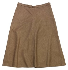 Max Mara Brown Wool Rabbit Skirt