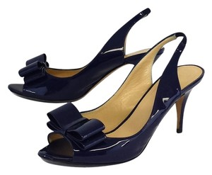 Kate Spade Blue Patent Leather Peep Toe Sandals