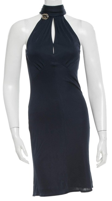 Item - Blue Gold Midnight ssima Gg Logo Embellished Sleeveless New 404 S Small Knee Length Cocktail Dress Size 4 (S)