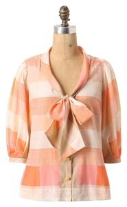 Anthropologie Maeve Plaid Cotton Silk Top