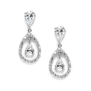 Mariell Cubic Zirconia Caged Teardrop Wedding Earrings 3687e