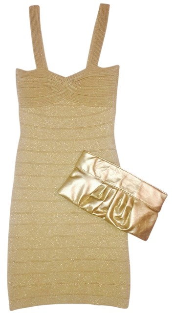 Item - Gold Bandage Mid-length Formal Dress Size 4 (S)