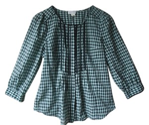Anthropologie Plaid Meadow Rue 3/4 Length Sleeves Cotton Tuxedo Pleating Top