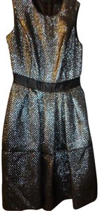Pink Tartan Metallic Shiny Asymmetrical Pleats Dress