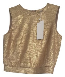Lucy Paris Metallic Cropped Top Gold