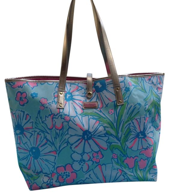 Item - Floral Light Blue Pink Green Turquiose Cotton Tote