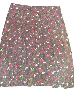 Boden Floral Skirt charcole grey with purple hearts, pink and white flowers and green accents