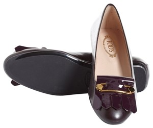 Tod's Leather Patent Leather Purple Flats