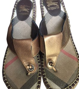 Burberry Sandals T-strap Bronze Bronze/ Dark Metallic Gold Wedges