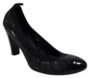 Chanel Elastic Strap Leather Black Pumps