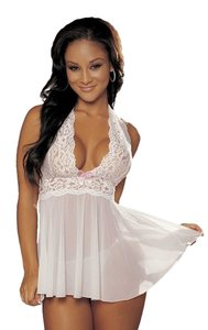 Shirley of Hollywood Shirley of Hollywood Women's Flattering and Fabulous Haltered Lace Babydoll + G-STRING