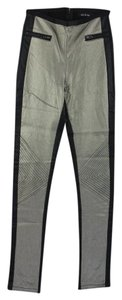 Pewter Metalllic Color Block Skinny Pants silver/black