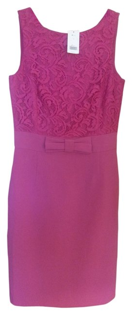 Preload https://item1.tradesy.com/images/banana-republic-fuchsia-bow-lace-above-knee-workoffice-dress-size-2-xs-1343685-0-0.jpg?width=400&height=650