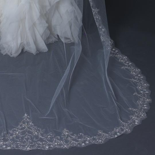 Elegance by Carbonneau Ivory/Silver Long Cathedral Beaded Embroidery Bridal Veil