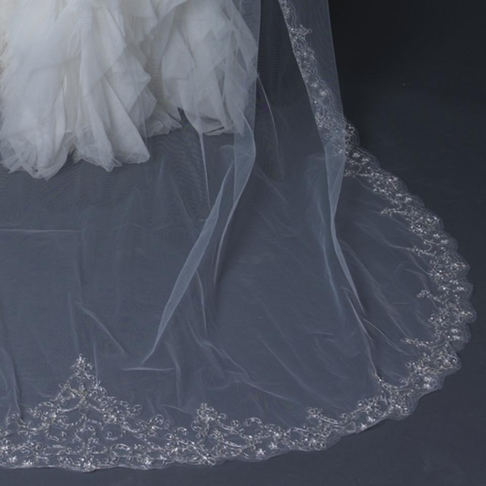 Elegance By Carbonneau Ivory Cathedral Beaded Embroidery Wedding Veil