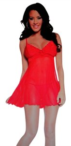 ESCANTE ESCANTE Sheer Dot Mesh and Lace Flutter Cut Babydoll and G String Set RED