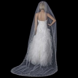 Elegance by Carbonneau White/Silver Long Cathedral Beaded Embroidery Bridal Veil