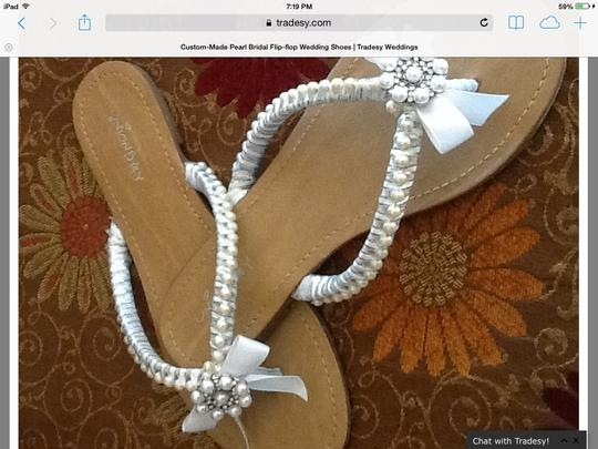 Custom Made Wedding Sandals With Pearls & Rhinestones Custom Made Wedding Shoes