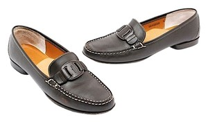 Salvatore Ferragamo Espresso Levante Loafer Contrast Stitching Dark Brown Flats
