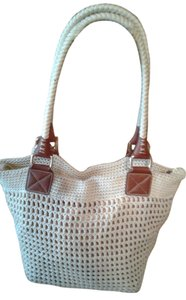 The Sak Crochet Tote in Creme white with gold background