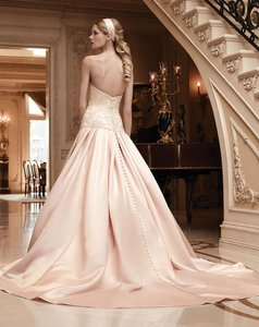 Casablanca Blush/ Silver Silk Satin 2123 Traditional Wedding Dress Size 4 (S)