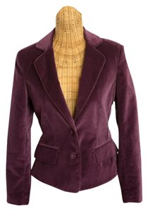 Kenneth Cole Fitted Two-button Velvet Lined Pockets Satin Trim Elegant Feminine Jacket Purple Plum Blazer